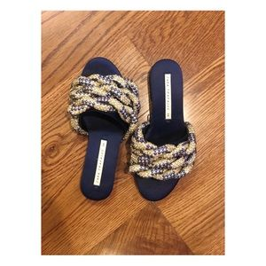 Blue Jeweled Strap Sandals